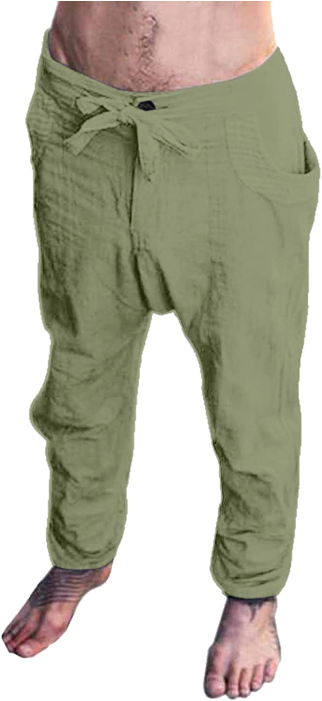 YUNDAN Cotton Linen Pants, Mens Loose Fit Wide Leg Trousers Drawstring Elastic Waist Sports Running Jogger Sweatpants