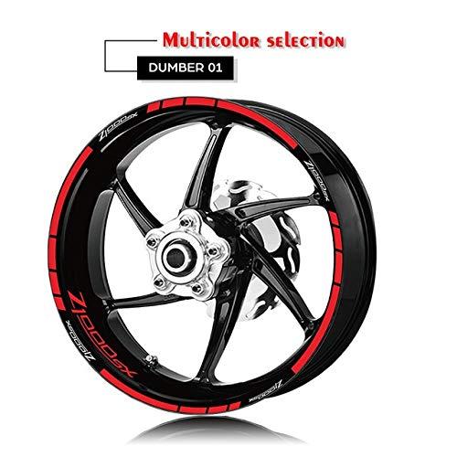 Anhuidsb Motorrad-Reifen und Felge Reflective Dekorative Aufkleber Kombination Räder Aufkleber-Set for Kawasaki Z1000SX mit Logo (Color : XT LQ Z1000SX RED)