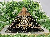 Shungite Orgonite Pyramid for EMF Protection and Negative Energy Protection | Natural Crystal Orgone Organite Pyramid (Metatron Cube)