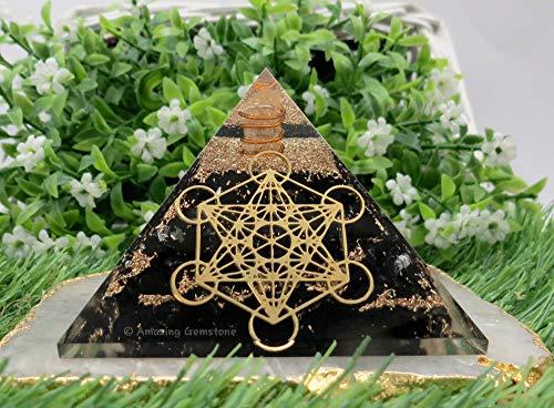 Pirámide de turmalina negra de piedra preciosa increíble para protección energética EMF y negativa, pirámide de cristal de turmalina negra natural (cubo de metatrón)