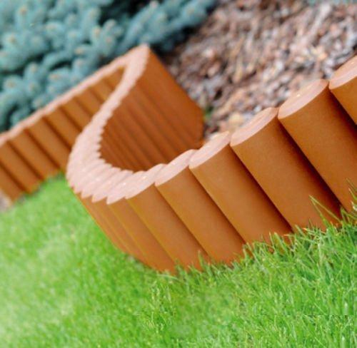 Garten Zaun Rasen Rand Boarder Rand Gehämmert Palisade Zaun Plastik 2,80m - Terrakotta