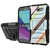 [NakedShield] [Black/Black] Total Defense Armor Case [Kickstand] [Holster] - [Vertical Colors] Compatible for Samsung Galaxy [2017] [J3 Emerge] [5' Screen]