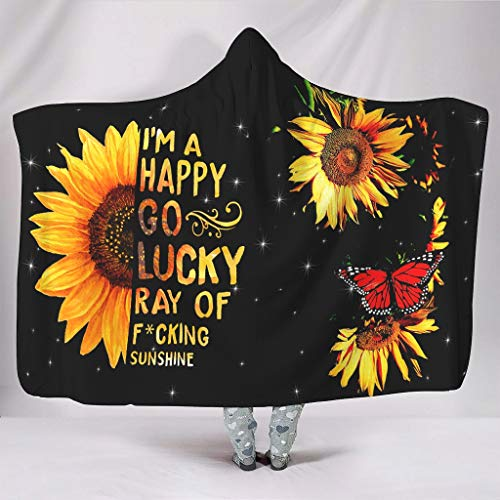Hothotvery Hooded Blanket Printed Sunflower Plant Blanket with Hood Affordable Bed Throw for Child White4 150 x 200 cm