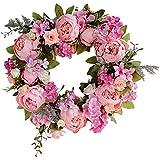 XIAOQI Corona para puerta, corona de peonía artificial, color rosa, decoración para puerta delantera, oficina, hogar, boda, fiesta