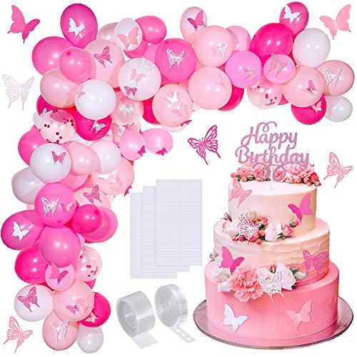 Kit de 151 Piezas Arco de Guirnalda Globos Mariposa Rosa Globos de Bricolaje con Mariposas de Papel Topper de Tarta de Cumpleaños para Decoraciones de Bodas de Fiesta de Cumpleaños (Morado)
