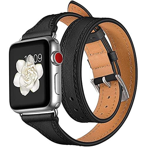 Correas de Cuero Genuino compatibles con la Correa de Apple Watch 38 mm 40 mm 42 mm 44 mm, Correa Delgada con diseño de Doble Recorrido Compatible con iWatch SE Series 6/5/4/3/2/1,42mm/44mm