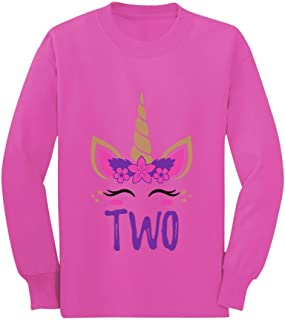 Gift for 2 Year Old Girl Unicorn 2nd Birthday Toddler/Kids Long Sleeve T-Shirt