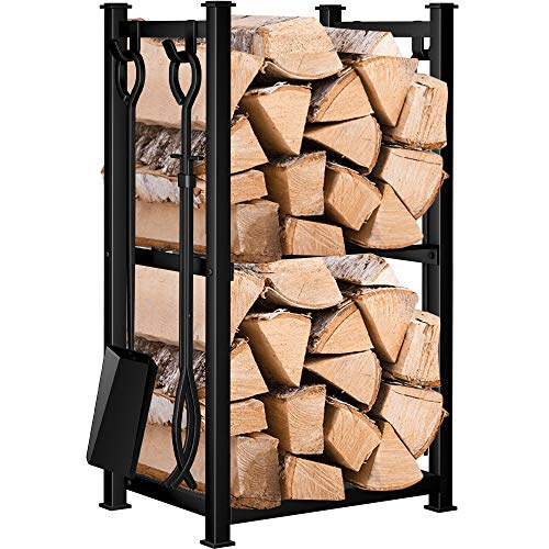 "Photo of Amagabeli Fireplace Log Rack with 4 Tools 28.3""x15.8""x11.7"" Indoor Fireside Companion Set Outdoor Log Holder for Wood Burner Wrought Iron Log Store Fire Poker Tool Set Wood Stove Fireplace Accessories"