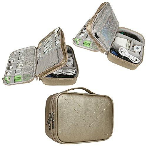 Electronics Travel Organizer-BUBM Universal Waterproof Travel Gear Organizer Cable Organizer Storage Bag for Various USB, Charger, Phone and iPad Mini-Gold