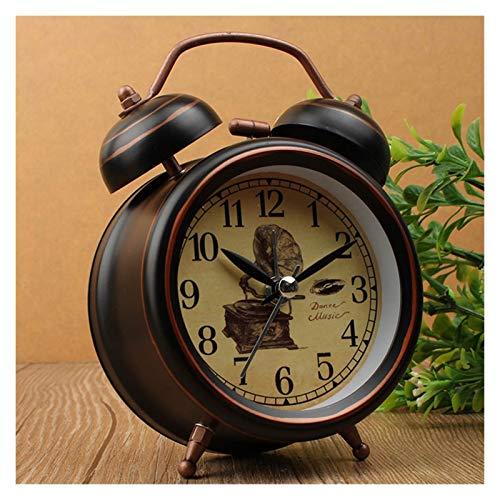 Reloj despertador vintage con luz nocturna, reloj despertador de metal retro europeo para mesita de noche, reloj de mesa con aguja, se pone la cama, timbre fácil de ajustar (color: 03 3 pulgadas)