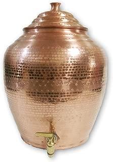Pure Copper Water Storage Matka Mathar Hammered Design 14 Liters Dispenser With Brass Tap
