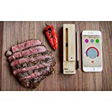 New MEATER Plus 165ft Long Range Smart Wireless Meat Thermometer for The Oven Grill Kitchen BBQ Smoker Rotisserie with Bluetooth and WiFi Digital Connectivity Bundled with HogoR Apron
