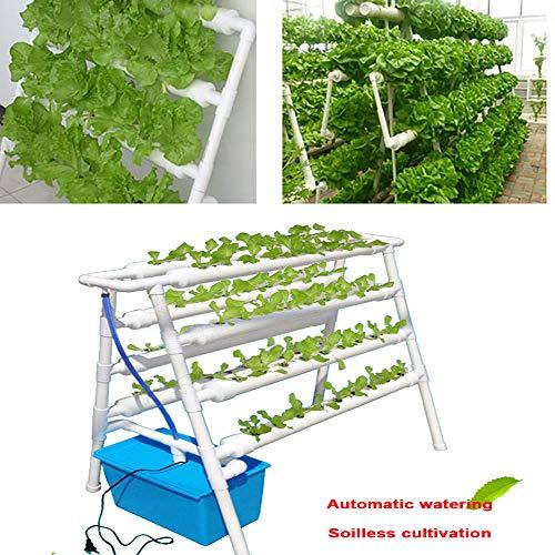 ZHENN Hydroponische Anzuchtsysteme, Weiß 4 Schichten 72 Pflanzenstandorte PVC 8 Rohre Hydroponik Anbausystem, Gartensystem Gemüsewerkzeug,98x60x103cm