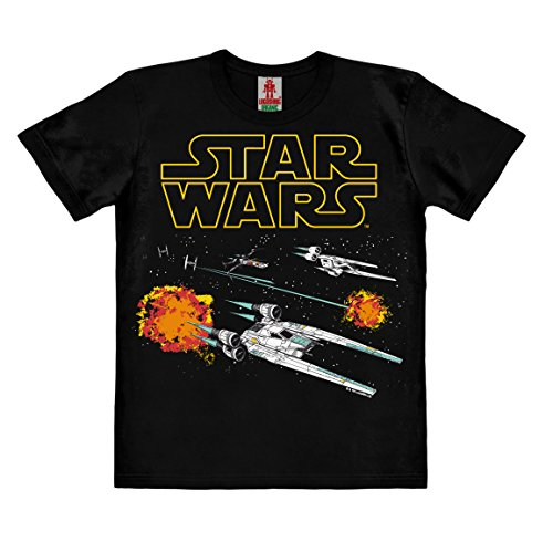 Logoshirt Star Wars - Rogue One - U-Wing - X-Wing - TIE Fighter - Starfighter Kinder Organic T-Shirt - schwarz - Bio Baumwolle - Organic Cotton - Lizenziertes Originaldesign, Größe 128, 7-8 Jahre