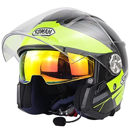 ZLYJ Casco Jet para Motocicleta con Bluetooth Y Visor Doble Antivaho, Casco Profesional De Motocross con Micrófono Incorporado para Aprobación Automática ECE B,L(56-57cm)