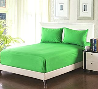 Tache 100% Cotton Deep Pocket Leaf Green - Extra Soft Luxurious Pillowcases with Fitted Sheet Only - 3 Piece Set – Full