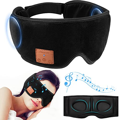 Sleep Headphones 3D Eye Mask, Bluetooth 5.0 Wireless Music Mask, Eye Shade Cover with Ultra-Thin Speakers Adjustable, Blindfold for Men Women Sleeping, Travel, Meditation