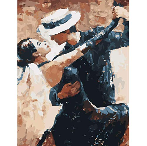 Kunst Malen nach Zahlen Doppelte Tangotänzerin Figur DIY digitale Malerei Wandkunst Bild Acrylzeichnung für Hauptdekoration-40 * 50cm