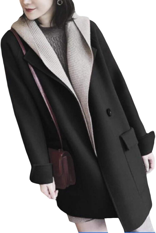 XiaoTianXinWomen XTX Women's Stylish Notched Lapel WoolBlend 2 Button Plus Size Pea Coat