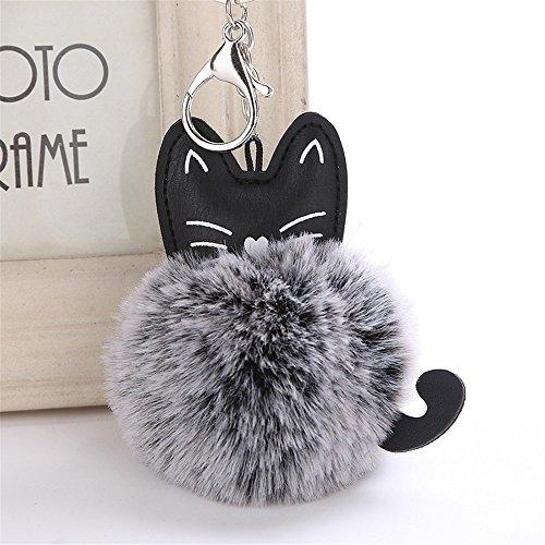 Gaddrt - Llavero de piel sintética con diseño de gato y pompones (18 cm)