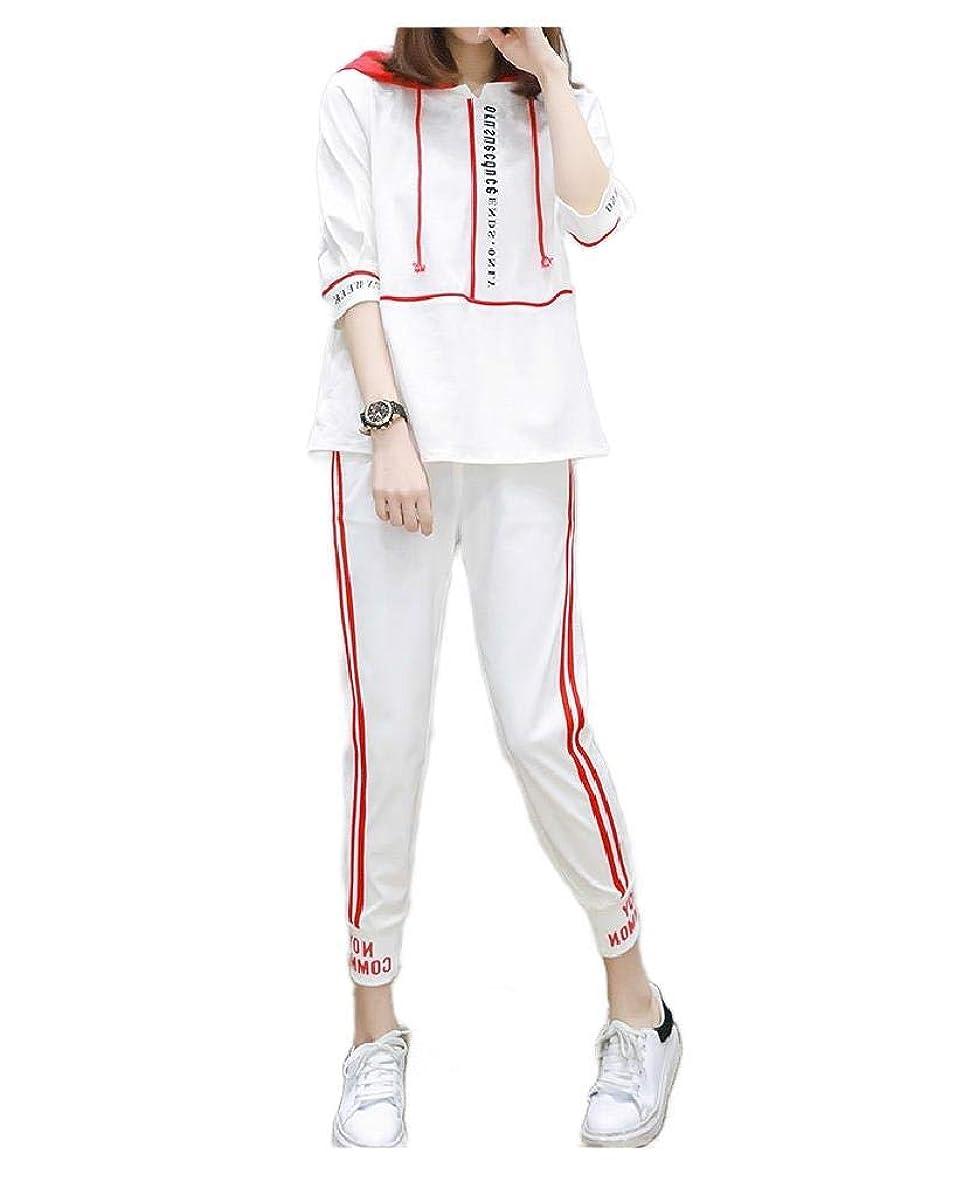 再生的憂鬱なグレートオークsayahe Womens Baggy Pullover Ankle Pants 2 Piece Workout Athletic Suit Set