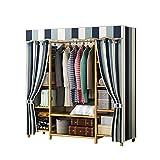 JIAO PAI Stoff Schlafzimmer Kleiderschränke, Massivholz Montage Kleiderschrank Lagerung Organizer Offene Damenbekleidung Kleiderschrank Trennwände(Size:165 * 41 * 120CM)