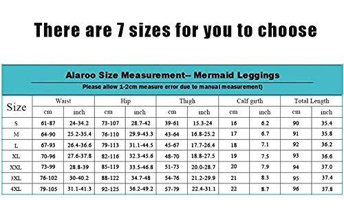 Alaroo Halloween Shiny Fish Scale Mermaid Leggings for Women Pants 4XL