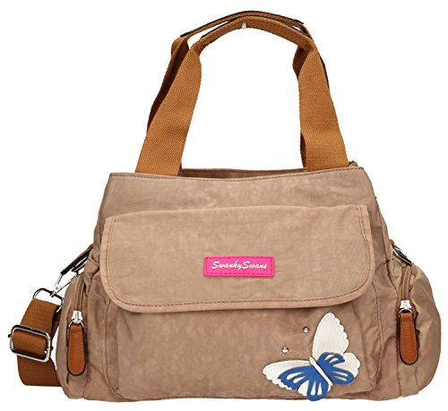 Madison Womens Ladies Designer Multi Zip Shoulder Day Bag with 3d Butterfly Motif - Beige