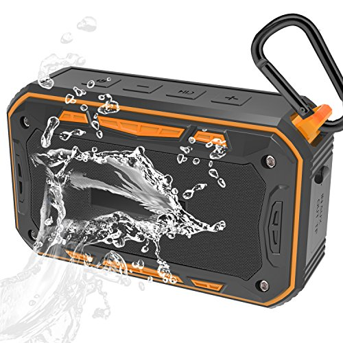 Jindowine Portable Bluetooth Bike Speaker with Bicycle Mount & TF Card Slot, 6W Powerful Enhanced Bass & IP67 Waterproof Bluetooth Bike Speaker, Outdoor (Orange)
