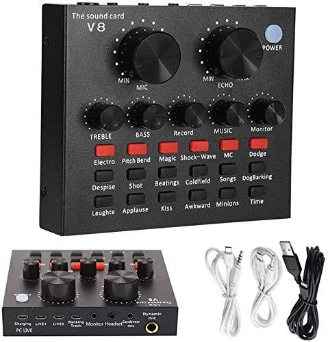 LIANGLEY V8 Live Sound Card Mezclador De Audio, Cambiador De Voz Profesional,...