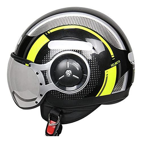 Casco de moto vintage de cara abierta aprobado por DOT, para hombre y mujer, casco de moto retro para ciclomotor Jet Bobber Pilot Cruiser 3/4, casco modular con visera