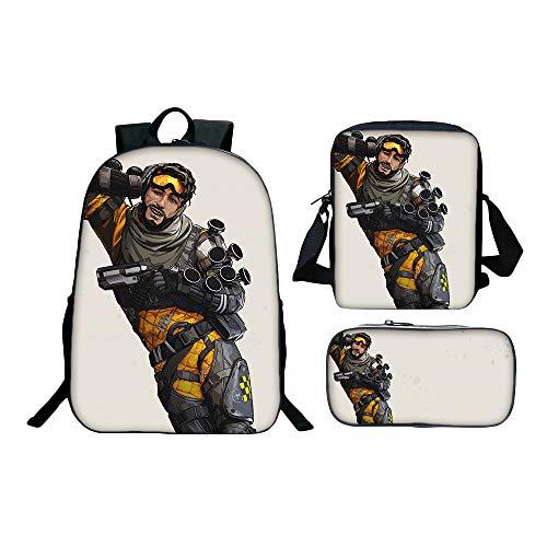 Apex Legends Hipster Mochila School Set 16pcs Mochilas + Messenger Bag + Pencil Bag Niños (Color : A09, Size : 30 X 13 X 40cm)