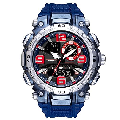 WNGJ Reloj New Men's Cool Trendy Waterproof Reloj de Moda Ocio Deportes al Aire Libre Mano electrónica Blue