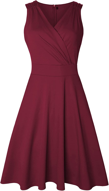 Dresses,Women's Sleeveless Elegant A-Line Vintage Cocktail Swing Dress