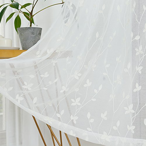 Anjee Semi Embroidered Sheer Curtains, Leaf Pattern Ivory White Voile Drapes with Metal Grommet for Bedroom and Living Room, 54 x 63 Inches, 2 Panels, Off White