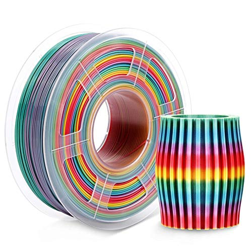 Silk PLA Filament 1kg Colorful Rainbow Silk Texture 1.75mm Tolerance +/-0.02mm 100% No Bubble FDM 3D Printer Printing Material pla filament (Color : PLA Rainbow)