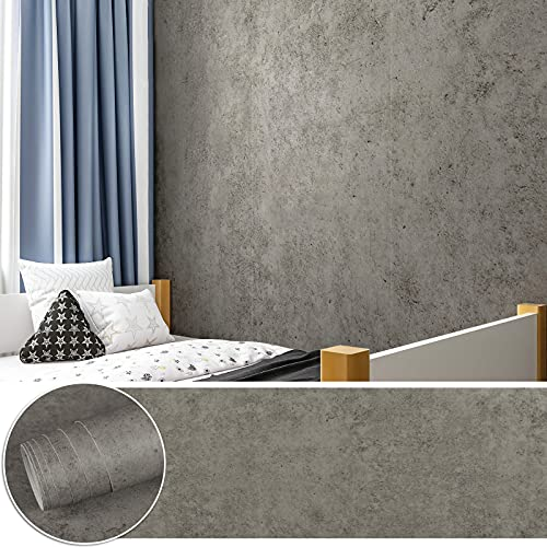 CHICHOME Matte Grey Cement Contact Paper Peel and Stick Concrete Wallpaper Self Adhesive Waterproof Thick Vinyl Industrial Style Faux Cement Wallpaper for Walls Furniture Countertop 29.9'x236'