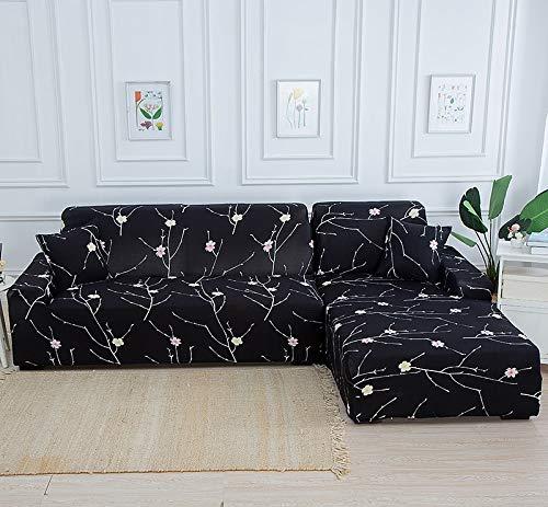 WXQY Funda de sofá de Esquina geométrica para Sala de Estar Funda de sofá elástica Funda de sofá Toalla de sofá elástica Funda de sofá en Forma de L A22 2 plazas