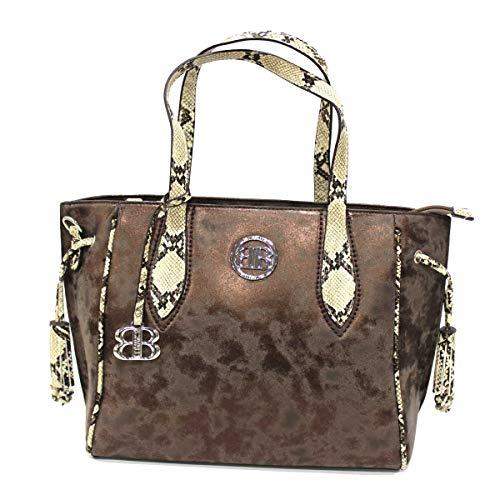 B. CAVALLI Borsa donna in similpelle shopping a spalla o a mano 2 manici con tracolla brown