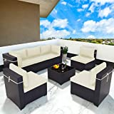 Gotland 7 Piece Outdoor Patio Furniture Sets All-Weather Outdoor Sectional Furniture PE Wicker Patio Sofa Conversation Chair Set with Coffee Table & 6 Thickened Cushions (Black PE Rattan,Cream Covers)