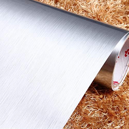 Haus Dekoration 2 Meter wasserdichte PVC Marmor/Holz/Pure Color Wallpaper Fashion Popular Wohnzimmer Küche-Wand-Aufkleber-Raum-Dekor Film Aufkleber (Color : Silber, Size : 40cm x 5 Meters)