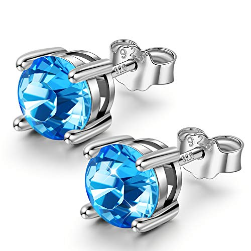 Sellot Azul Pendientes de Botón para Mujer Regalos Personalizados para Ella Cristales de Swarovski Pendientes Redondos de Plata de Ley 925 Pendientes de Zafiro B Claro Regalos con Cajas de Joyería