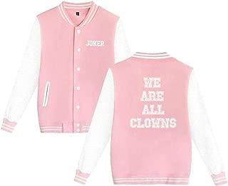 Joker Jacket Men Women Slim Fit Varsity Baseball Jacket Bomber Coat,Black,