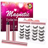 EARLLER 10 Pairs Magnetic Eyelashes with Eyeliner Kit, Natural Look and Fluffy Volume Faux Mink False Lashes - Easy to Apply and No Glue Needed, Reusable Short and Long Lashes Set