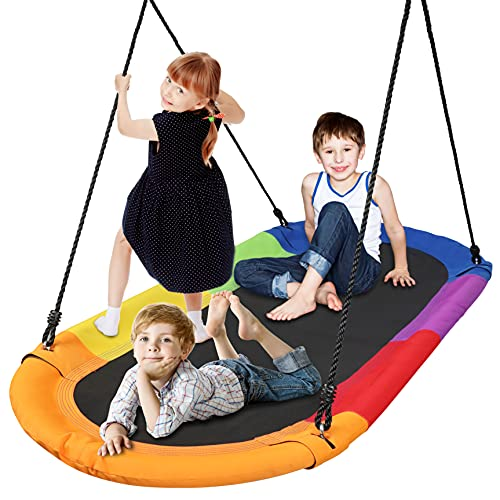 SereneLife Surf Saucer Tree Swing - Kids Outdoor Tree Hanging Giant Saucer Platform for Playground Playroom or Backyard w/ Rope Straps, Cushion Padded Metal Frame - SereneLife SLSOVSWNG55RB (Rainbow)