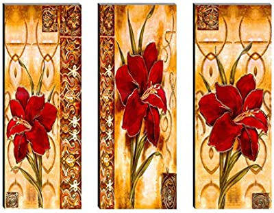 SAF Set of 3 Red Preety Flower 6MM MDF UV Textured Self adesshive Painting 18 Inch X 15 Inch SANFJ207