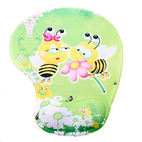 TUKA Mouse Pad Alfombrilla de ratón con el cojín de muñeca de Gel, Alfombrilla de ratón con Gel, Mouse Pad Gel, Dos Abejas, TKC5100 twobees