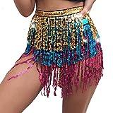 Banana99 Accesorios de traje de danza del vientre Traje de baile traje de lentejuelas borla flecos cadera bufanda cinturón cintura playa abrigo falda
