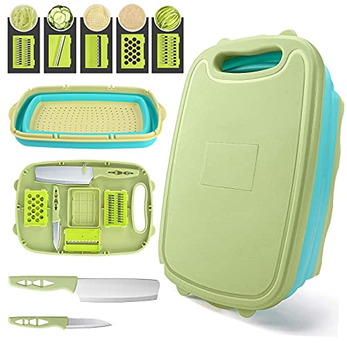 Collapsible Cutting Board, HI NINGER Foldable Chopping Board with Colander,9-In-1 Multi Chopping Board Kitchen Vegetable Washing Basket Silicone Dish Tub for BBQ Prep/Picnic/Camping-Green