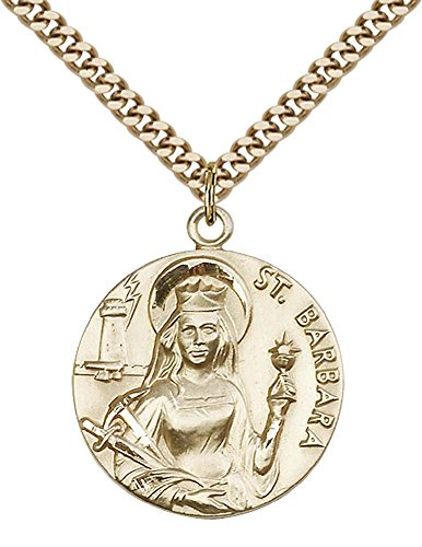 14ct Gold Filled St. Barbara Pendant with 24' Gold Plated, Stainless Steel Heavy Curb Chain. Patron Saint of Architects/Sudden Death
